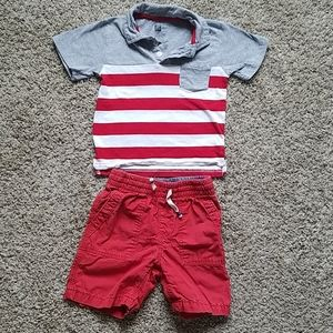 Boys 4T outfit, red, stripes, patriotic.